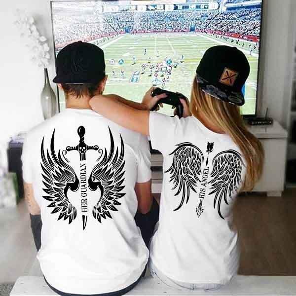 Тениски за двойки Angel / Guardian Black/White