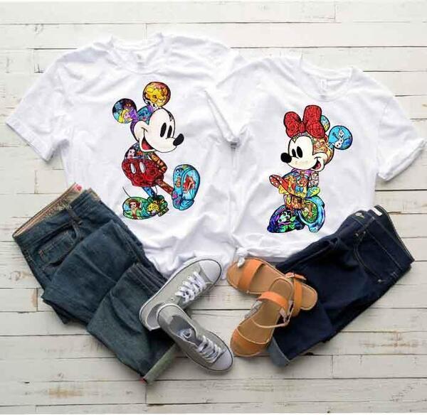 Тениски за двойки Мики и Мини Дисни White