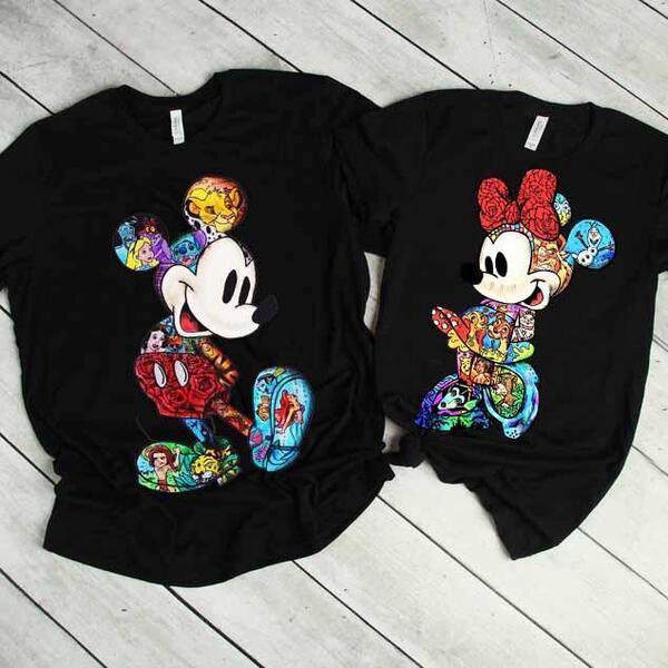 Тениски за двойки Мики и Мини Дисни Black