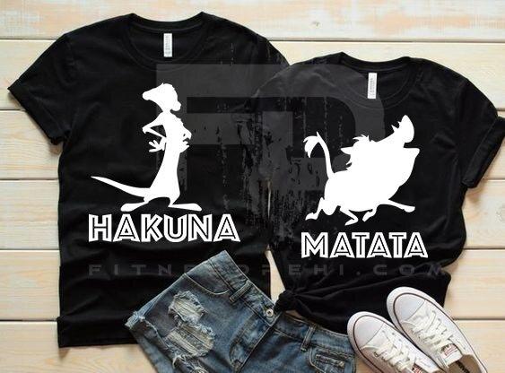 Тениски за двойки Hakuna Matata Black