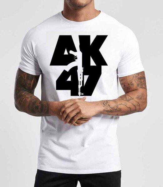 Тениска АК47 3D Лого Бял
