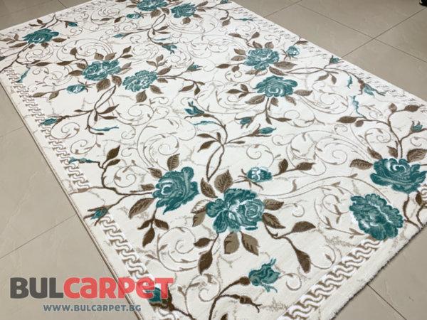 релефен килим ривиера 5500 крем-тюркоаз