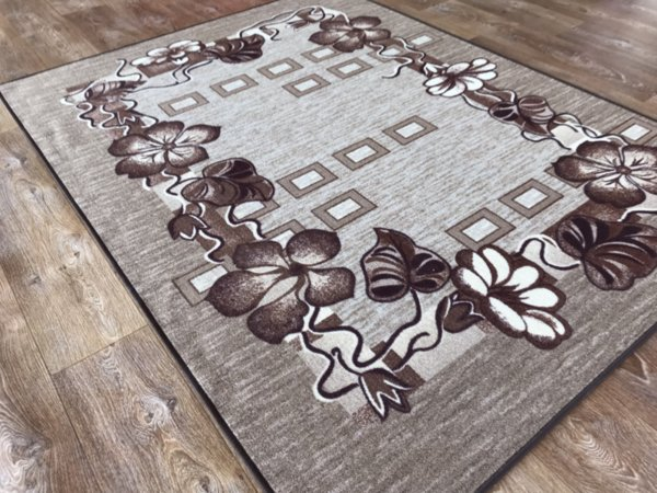 мокетен килим цвете беж