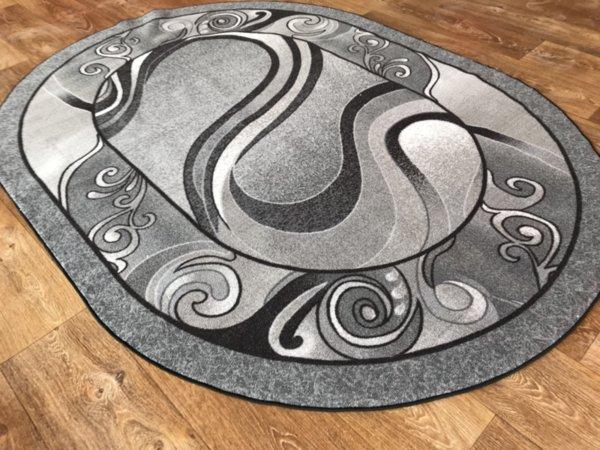 мокетен килим 1818 сив овал,кръг