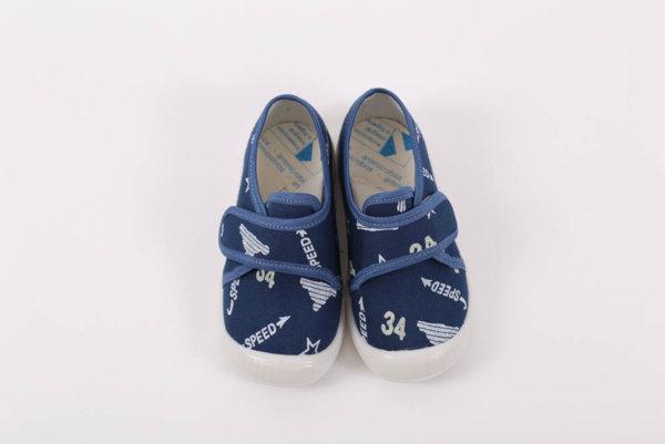 Беко Бебешки обувки за прохождане  - пантофи Беко класик – сини /текстил/ пролет/есен