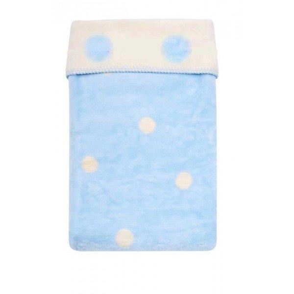 Womar Памучно бебешко одеяло 75х100см синьо/екрю точки Spots 515038