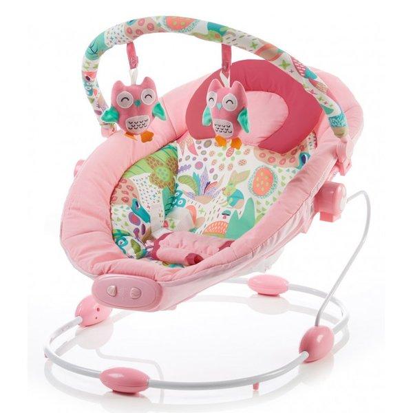 Baby Mix Бебешки музикален шезлонг с вибрации / розов/ B245-2 PINK