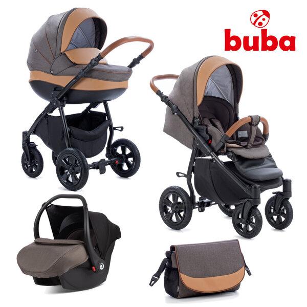 Buba Комбинирана бебешка количка 3 в 1 Forester col. 597, тъмнокафява NEW022280