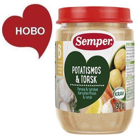 Semper  Бебешко пюре ЕКО Риба Треска с картофено пюре - 190 г  9545