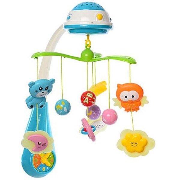 Baby Mix Бебешка музикална въртележка с проектор/син/35604