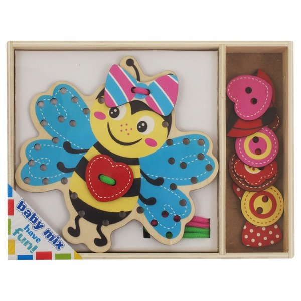 Baby Mix Дървен пъзел Lacing Bee
