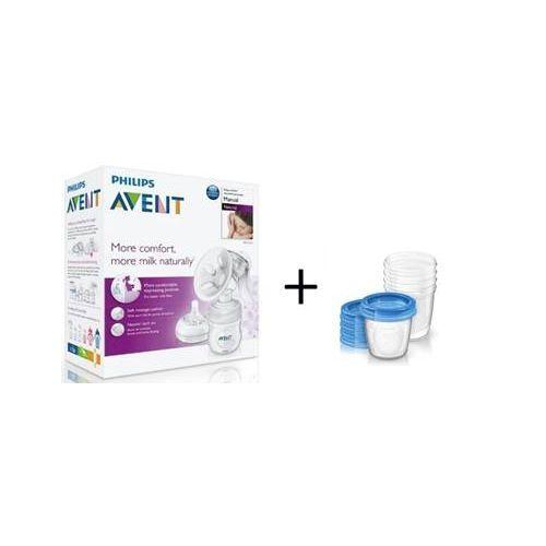 Philips AVENT Ръчна помпа за изцеждане на кърма  Comfort + контейнери за съхранение на кърма VIA 5бр. 180 мл.