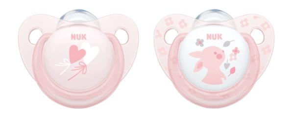 Nuk Бебешки биберон залъгалка силикон 0-6 мес. 2бр ROSE + кутийка за съхранение и стерилизация в микровълнова 730.050
