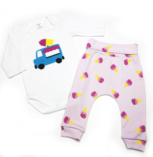 .Бебешки комплект 2 части момиче /боди + потурки, интер  + ситопечат/ Сладолед