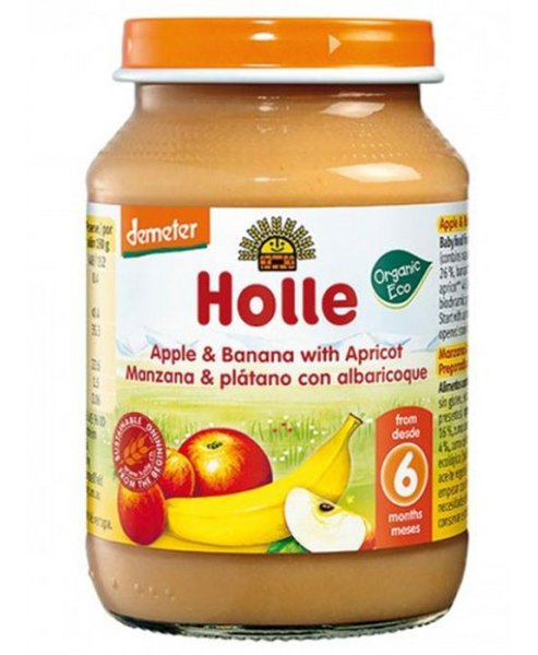 Holle Био бебешко пюре ябълка, банан, кайсии 190 гр. 6м 4736
