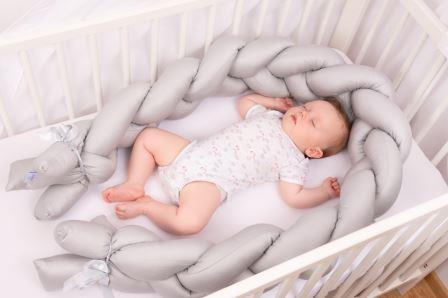 BabyMatex Ограничител - обиколник за бебешко легло сив 200 см 0357-5