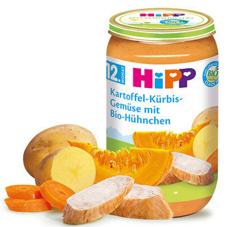 Hipp БИО Бебешко пюре / Картофи и тиква със зеленчуци и пиле 250гр