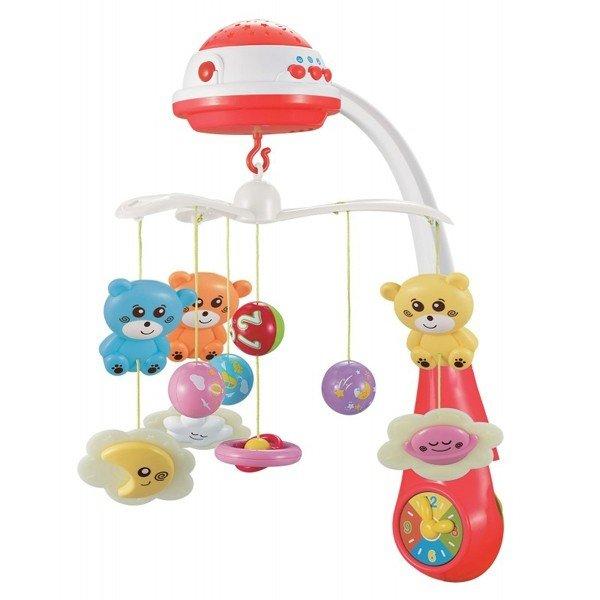 Baby Mix Бебешка музикална въртележка с проектор/червен/ 35604