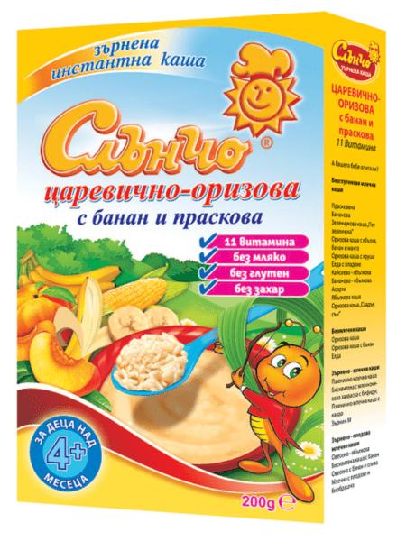 Слънчо Царевично-оризова каша с банан и праскова без мляко 4м+ 200гр