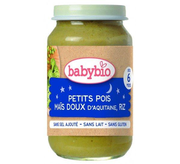 Baby Bio Бебешко Био зеленчуково пюре с грах, сладка царевица и ориз 200 гр.