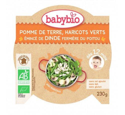Baby Bio Бебешко пюре Меню с пуешко месо, картофи и зелен фасул-купичка 230 гр.