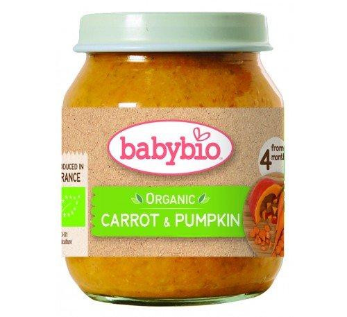 Baby Bio Бебешко Зеленчуково пюре с морков и тиква 130 гр.