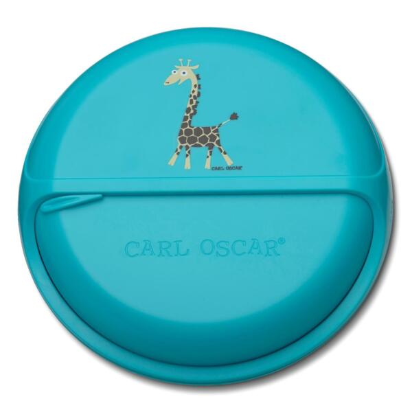 Carl Oscar Детска кутия за храна с разделения Giraffe тюркоаз 108403