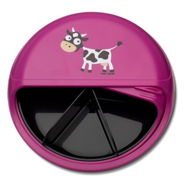 Carl Oscar Детска кутия за храна с разделения Cow лилава 108402