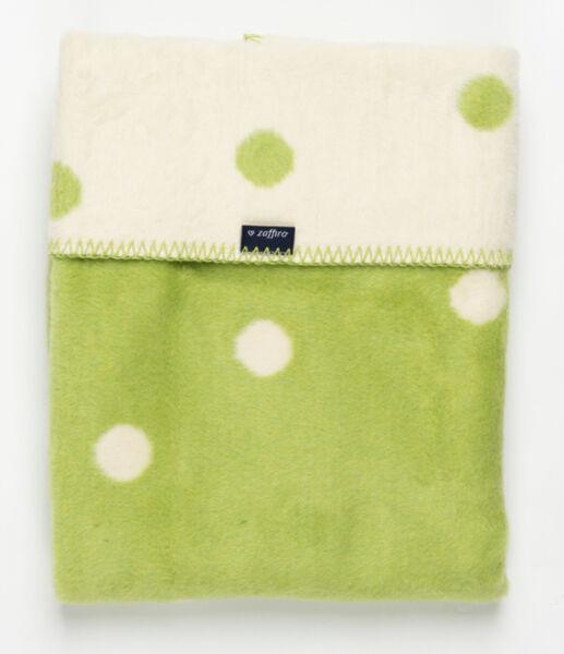 Womar Памучно бебешко одеяло 75х100см зелено/екрю точки Spots 515007