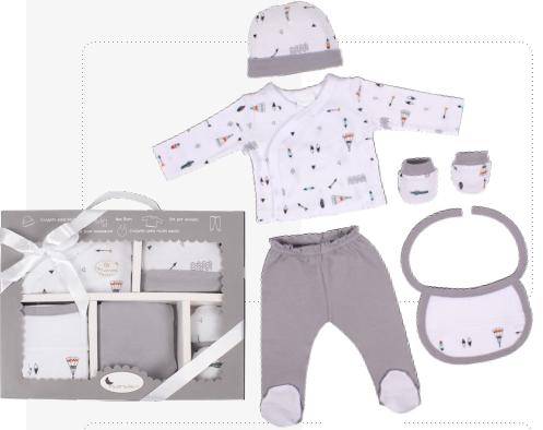 Interbaby Бебешки комплект за изписване 5ч Indio Grey 07-31