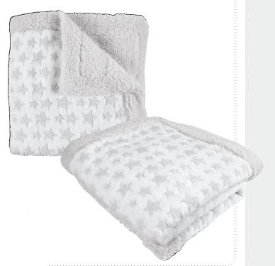 Interbaby Бебешко одеяло 80х110см ко-полар Star бял 00874-31
