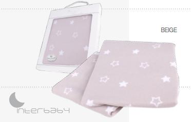 Interbaby Бебешко памучно плетено одеяло 75х110см Star бежово 003-15