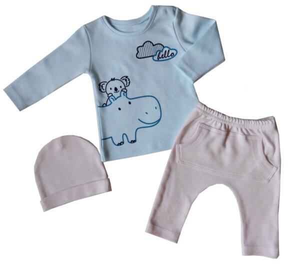 .Rainy Детски комплект 3 части Хипо и Коала /блузка с дълъг ръкав + голф-потурки + шапка/интер/