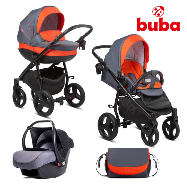 Buba Комбинирана бебешка количка 3 в 1 Bella col. 713, Pewter-Orange