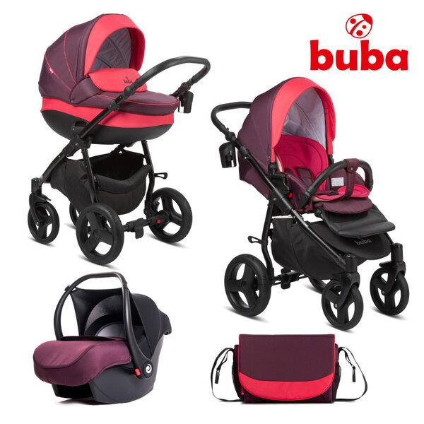 Buba Комбинирана бебешка количка 3 в 1 Bella col. 706, Burgundy