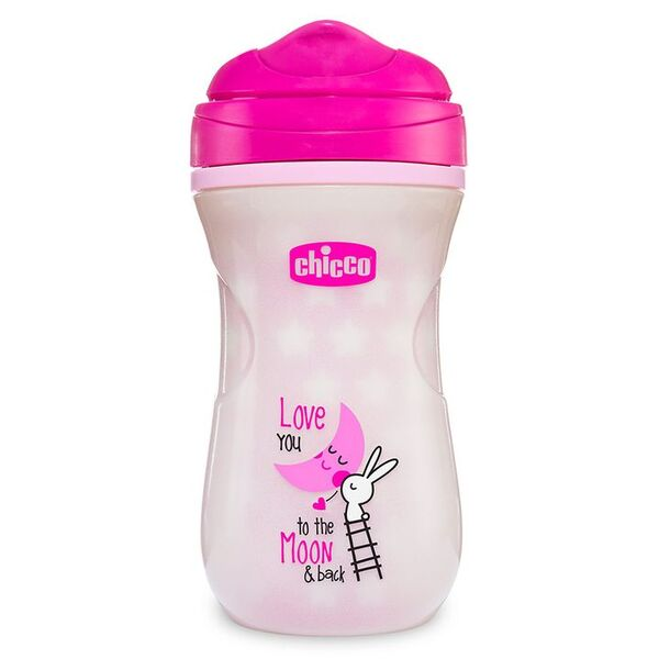 Chicco Термоизолирана светеща чаша Shiny Cup розова 14 м.+ 266 мл. 0425 G