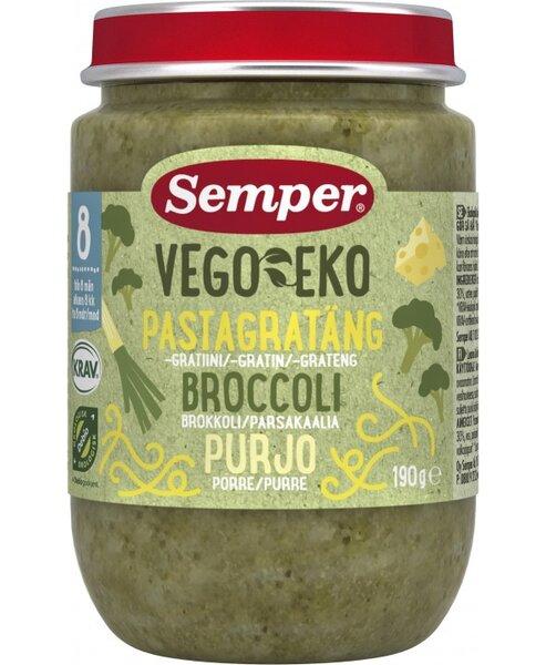 Semper Бебешко пюре Vego Еко Паста с броколи и праз 8+ 190 гр.