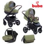 Buba Комбинирана бебешка количка 3 в 1 Forester col. 599 зелена NEW022283