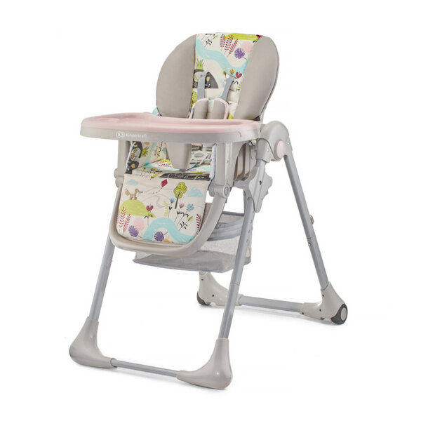 Kinderkraft Столче за хранене Yummy Pink Leaf