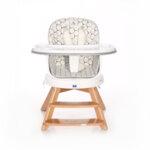 Lorelli Столче за хранене с дървени крака и ротация Napoli Grey Hexagons 10100472132