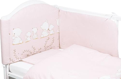Bubaba Бебешки спален комплект 6 части Розови мечета