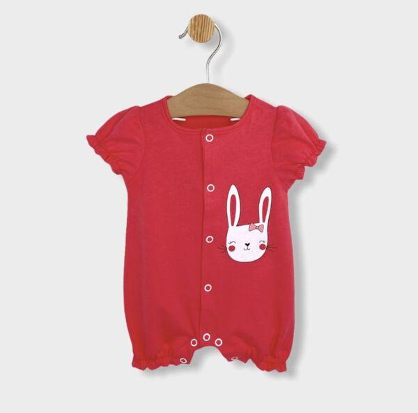 Rainy Бебешки гащеризон с къс ръкав Зайче с панделка 56-80см. розов