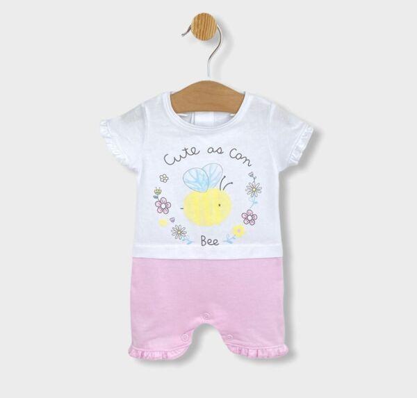 Rainy Бебешки гащеризон с къс ръкав Сладка пчеличка 56-80см. розов