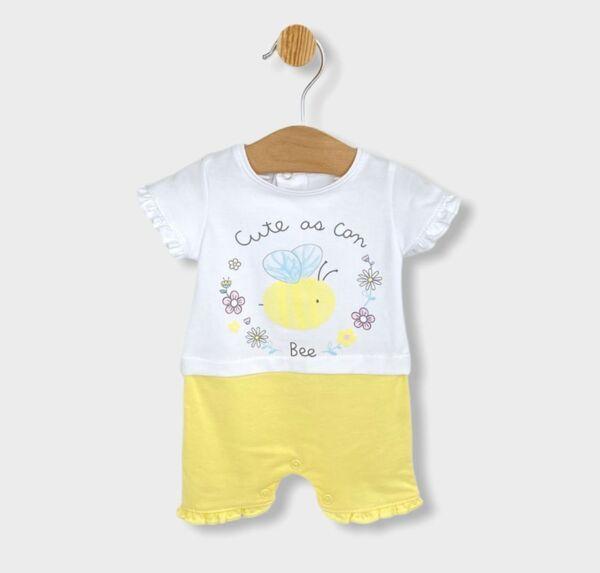 Rainy Бебешки гащеризон с къс ръкав Сладка пчеличка 56-80см. жълт