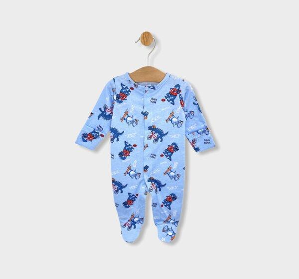 Rainy Бебешки гащеризон с ръкавички Динозавърчета 48 - 62см. син
