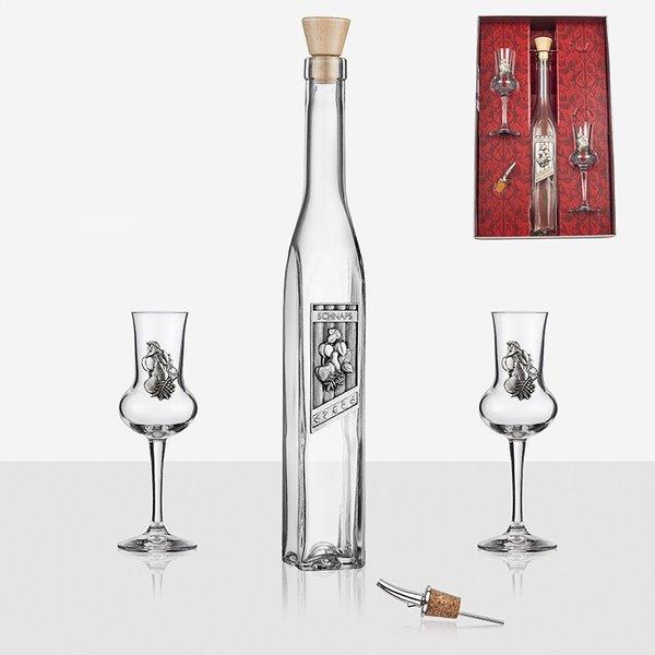 Сет бутилка+2 чаши за вино