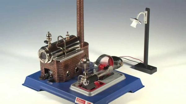 Комплект мини парен двигател, динамо и улична лампа Wilesco D105