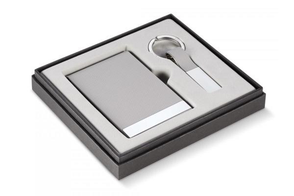 PHILIPPI  Бизнес подарък от 2 части ( ключодържател + визитник ) - сив
