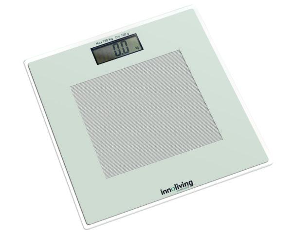INNOLIVING Кантар UltraSlim с голям LCD диспей и стъклена платформа