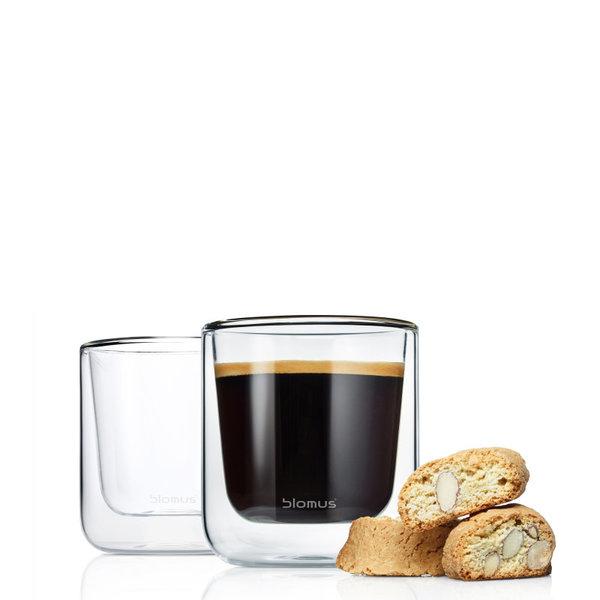 BLOMUS Комплект от 2 бр двустенни стъклени чаши NERO за кафе - 200 мл